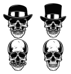 Set of skulls in vintage hats skull with vector