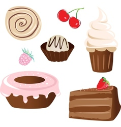 set of sweet cake vector image vector image