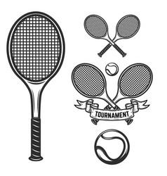 set of tennis design elements for logo label vector image