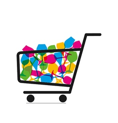 Shopping trolley full of drink glasses vector