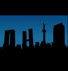 silhouette of city mexico building scenery vector image vector image