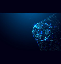 soccer ball in goal from lines connecting vector image
