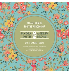 square card with circle and floral background vector image vector image