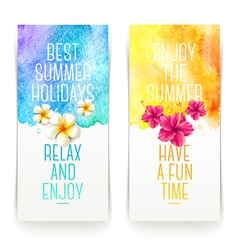 Summer holidays watercolor banners with tropical vector