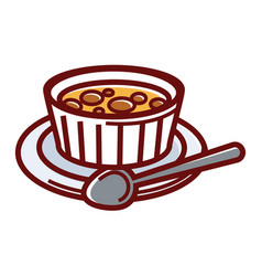 sweet creme brulee in small container on plate vector image