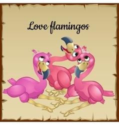 Three cute pink flamingos vector image