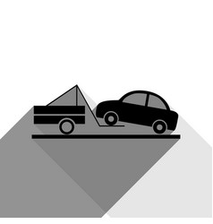 tow truck sign black icon with two flat vector image