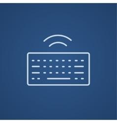 Wireless keyboard line icon vector image vector image