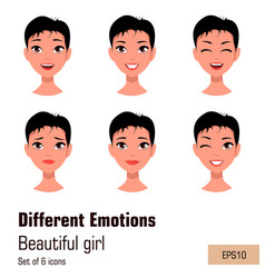 Woman with different face expressions young vector