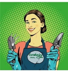 Woman with garden tools in vector