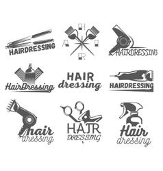 set of hair salon labels in vintage style vector image