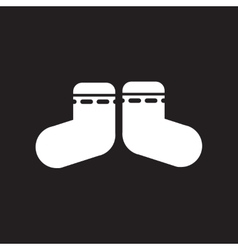 Flat icon in black and white style children socks vector