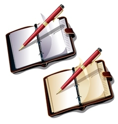 Notebook with ball pen on white background vector image