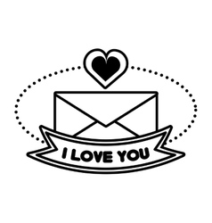 Message i love you banner outline vector