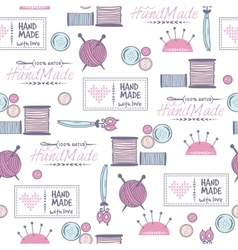 Handmade needlework badges pattern vector