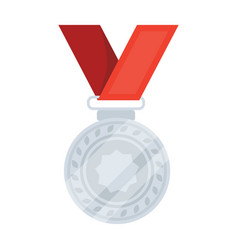 Silver medal on a red ribbonthe award for second vector