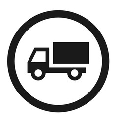 No truck prohibited sign line icon vector