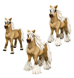 Stages of growing brown horse with a white mane vector
