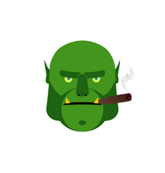 Angry ogr with cigar aggressive green monster vector