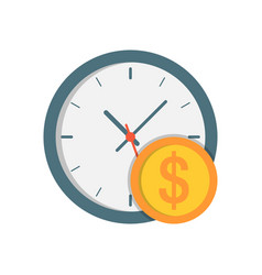 Clock with coin icon vector