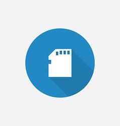 Memory card flat blue simple icon with long shadow vector