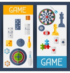 Vertical banners with game icons in flat design vector