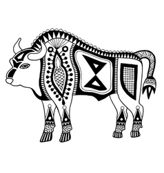 Black and white original ethnic tribal bison vector