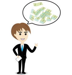 Business man thinking to money vector