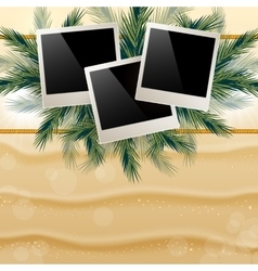 Bright background with golden sand and hung photos vector