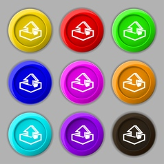 Upload icon sign symbol on nine round colourful vector