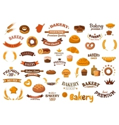 Bakery and pastry food design elements vector