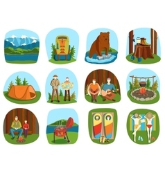 Set of camping equipment symbols and icons summer vector