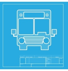 Bus sign  white section of icon on vector