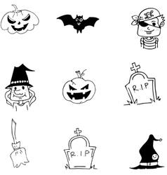 Element bat pumpkins broom halloween doodle vector