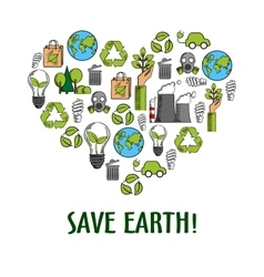 Eco icons creating a heart symbol sketch style vector image