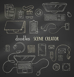 Set of chalk scene creator elements on blackboard vector