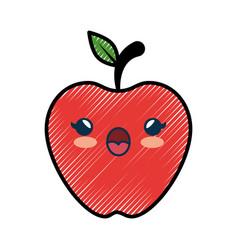 Apple fruit cartoon smiley vector