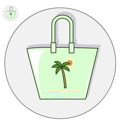 Beach bag flat logo and icon vector