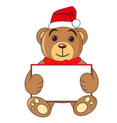bear with sign hat of santa claus on white vector image vector image