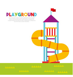 Beautiful children playground with kids playing vector