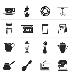 Black cafe and coffeehouse icons vector