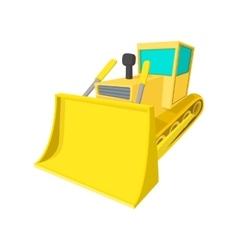 Bulldozer cartoon icon vector