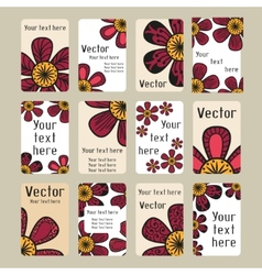 Business cards with doodling flowers vector image