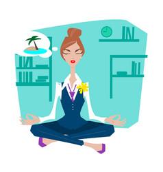 Business woman in lotus pose vector