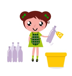 cute girl recycle garbage vector image