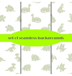 Dinosaurs set of seamless backgrounds vector