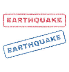 Earthquake textile stamps vector