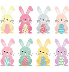 Easter bunnyEaster eggs set vector image vector image