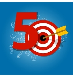 Fifty years target in business calendar list of vector