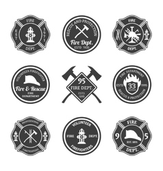 Fire department emblems black vector